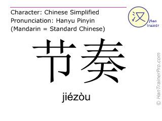 Chinese characters  ( jiezou / jiézòu ) with pronunciation (English translation: rhythm )