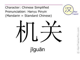 Chinese characters  ( jiguan / j&#299gu&#257n ) with pronunciation (English translation: gear )