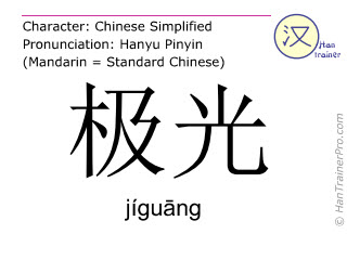 汉字  ( jiguang / jígu&#257ng ) 包括发音 (英文翻译: aurora )