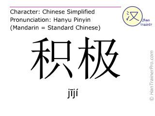 Chinesische Schriftzeichen  ( jiji / jījí ) mit Aussprache (Deutsche Bedeutung: energisch )