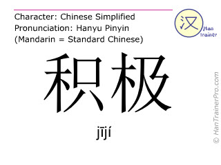 Chinese characters  ( jiji / jījí ) with pronunciation (English translation: positive )