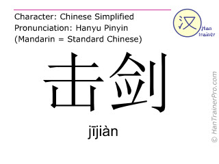 Chinese characters  ( jijian / j&#299jiàn ) with pronunciation (English translation: fencing )