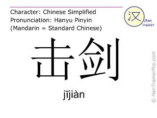Caracteres chinos  ( jijian / jījiàn ) con pronunciación (traducción española: esgrima )