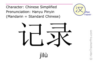 Chinese characters  ( jilu / jìlù ) with pronunciation (English translation: record )