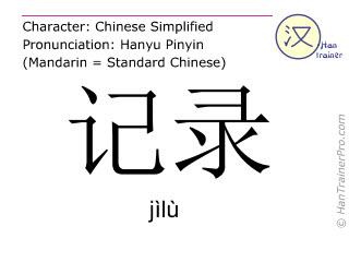 Chinese characters  ( jilu / jìlù ) with pronunciation (English translation: record )