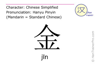 Chinese characters  ( jin / j&#299n ) with pronunciation (English translation: gold )