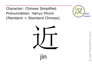 Chinesische Schriftzeichen  ( jin / jìn ) mit Aussprache (Deutsche Bedeutung: nah )
