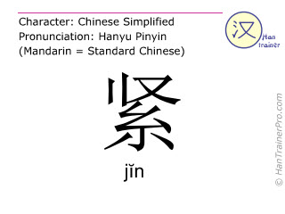 Chinese characters  ( jin / jĭn ) with pronunciation (English translation: tight )