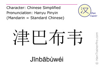 Chinese characters  ( Jinbabuwei / Jīnbābùwéi ) with pronunciation (English translation: Zimbabwe )