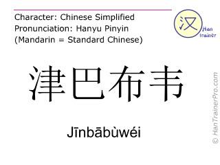 Caractère chinois  ( Jinbabuwei / Jīnbābùwéi ) avec prononciation (traduction française: Zimbabwe )