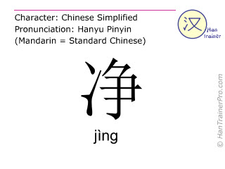 Chinese characters  ( jing / jìng ) with pronunciation (English translation: clean )