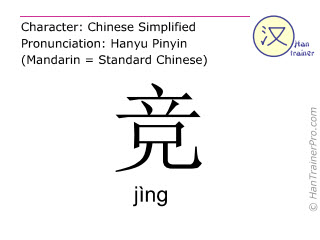 Chinese characters  ( jing / jìng ) with pronunciation (English translation: to compete )