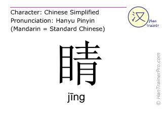 Caractère chinois  ( jing / jīng ) avec prononciation (traduction française: globe oculaire )