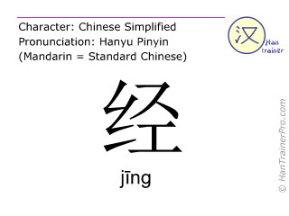 Chinese characters  ( jing / j&#299ng ) with pronunciation (English translation: to pass )