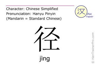 Caractère chinois  ( jing / jìng ) avec prononciation (traduction française: chemin )