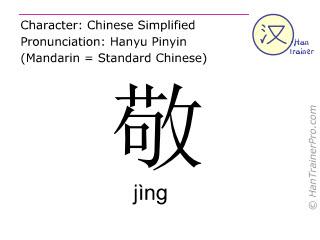 Chinesische Schriftzeichen  ( jing / jìng ) mit Aussprache (Deutsche Bedeutung: ehren )