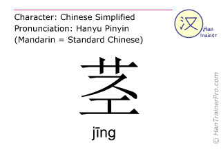 Chinese characters  ( jing / j&#299ng ) with pronunciation (English translation: stem )