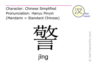 Chinese characters  ( jing / j&#301ng ) with pronunciation (English translation: to warn )