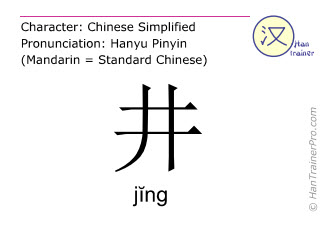 Chinese characters  ( jing / jĭng ) with pronunciation (English translation: a well )
