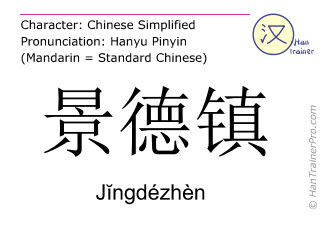 Chinese characters  ( Jingdezhen / Jĭngdézhèn ) with pronunciation (English translation: Jingdezhen )