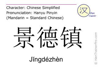 Chinesische Schriftzeichen  ( Jingdezhen / Jĭngdézhèn ) mit Aussprache (Deutsche Bedeutung: Jingdezhen )