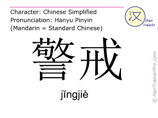 Chinese characters  ( jingjie / jĭngjiè ) with pronunciation (English translation: to admonish )