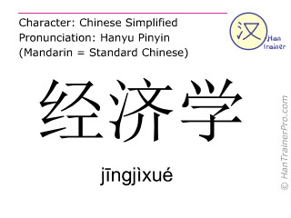 Chinese characters  ( jingjixue / j&#299ngjìxué ) with pronunciation (English translation: economics )