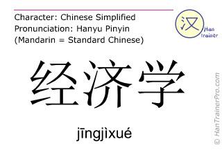Chinese characters  ( jingjixue / jīngjìxué ) with pronunciation (English translation: economics )