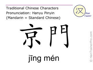 Chinesische Schriftzeichen  ( jing men / jīng mén ) mit Aussprache (Deutsche Bedeutung: Gallenblase 25 )