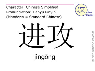 Chinese characters  ( jingong / jìng&#333ng ) with pronunciation (English translation: to attack )