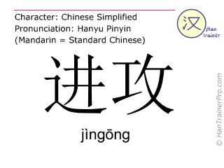 Caracteres chinos  ( jingong / jìngōng ) con pronunciación (traducción española: ataque )