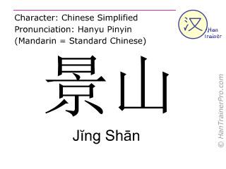 Caracteres chinos  ( Jing Shan / Jĭng Shān ) con pronunciación (traducción española: Jing Shan )