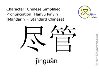 Chinese characters  ( jinguan / jìnguăn ) with pronunciation (English translation: although )