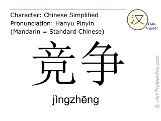 Chinese characters  ( jingzheng / jìngzhēng ) with pronunciation (English translation: competition )