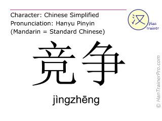 Chinesische Schriftzeichen  ( jingzheng / jìngzhēng ) mit Aussprache (Deutsche Bedeutung: konkurrieren )