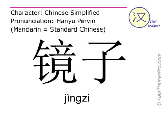Caracteres chinos  ( jingzi / jìngzi ) con pronunciación (traducción española: espejo )