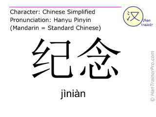Chinese characters  ( jinian / jìniàn ) with pronunciation (English translation: to commemorate )