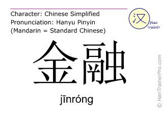Caractère chinois  ( jinrong / jīnróng ) avec prononciation (traduction française: finances )