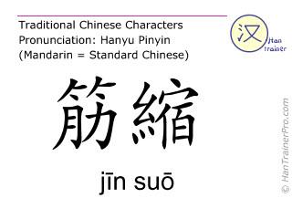 Chinesische Schriftzeichen  ( jin suo / jīn suō ) mit Aussprache (Deutsche Bedeutung: Du Mai 8 )