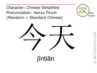 汉字  ( jintian / jīntiān ) 包括发音 (英文翻译: today )