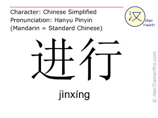 Chinese characters  ( jinxing / jìnxíng ) with pronunciation (English translation: to proceed )