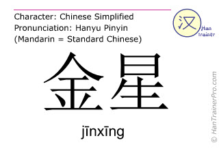 Chinese characters  ( jinxing / jīnxīng ) with pronunciation (English translation: Venus (planet) )