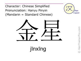 Chinesische Schriftzeichen  ( jinxing / jīnxīng ) mit Aussprache (Deutsche Bedeutung: Venus (Planet) )