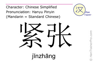 Chinese characters  ( jinzhang / j&#301nzh&#257ng ) with pronunciation (English translation: nervous )