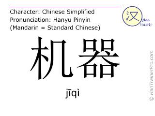 Caracteres chinos  ( jiqi / jīqì ) con pronunciación (traducción española: máquina )