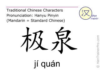 Chinese characters  ( ji quan / jí quán ) with pronunciation (English translation: Heart 1 )