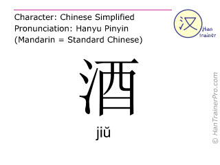 Chinese characters  ( jiu / jiŭ ) with pronunciation (English translation: alcoholic drink )