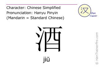 Caractère chinois  ( jiu / jiŭ ) avec prononciation (traduction française: boisson alcoolique )
