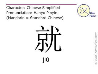 Caracteres chinos  ( jiu / jiù ) con pronunciación (traducción española: solo )