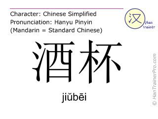 Caractère chinois  ( jiubei / jiŭbēi ) avec prononciation (traduction française: verre à vin )